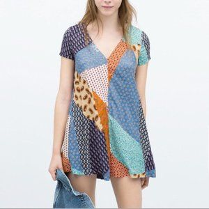 Zara Trafaluc V Neck Colorful Patchwork Romper